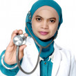 Asian young woman doctor holding a stethoscope  — Stock Photo