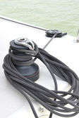 Rope pulley on a yacht — Stock Photo