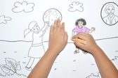 Child's hand coloring — Foto de Stock