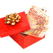 Money in gift box. — Stock Photo