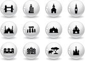 Web buttons, landmark icons — Stock Vector