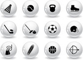 Web buttons, sport equipment icons — Stock Vector