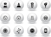 Web buttons, traffic and driving icons — Stock Vector