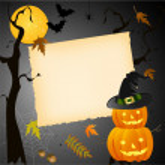Cadılar Bayramı kartı yer ile metni — Stok Vektör