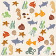 Seamless ocean life pattern 2 — Stock Vector