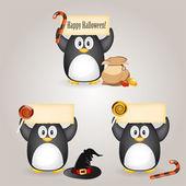 Pingüino de halloween — Vector de stock