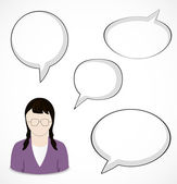 Woman and speech bubbles — Stock Vector