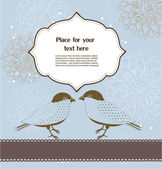 Floral greeting card with birds — Vetorial Stock
