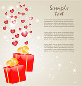 Gift boxes with gold ribbons and hearts — Stock Vector