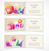 Banners with gift boxes — Stock Vector