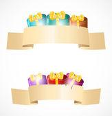Banners com caixas de presente — Vetorial Stock