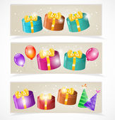 Banners with gift boxes and balloons — Stock Vector