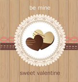 Valentine`s Day card with chocolate — Stock Vector