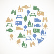 Camping icons — Stock Vector