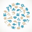 Stock Vector: Seafood icons