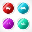 Set of stickers with icons — Stock Vector