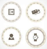 Vintage labels with icons — Stock Vector