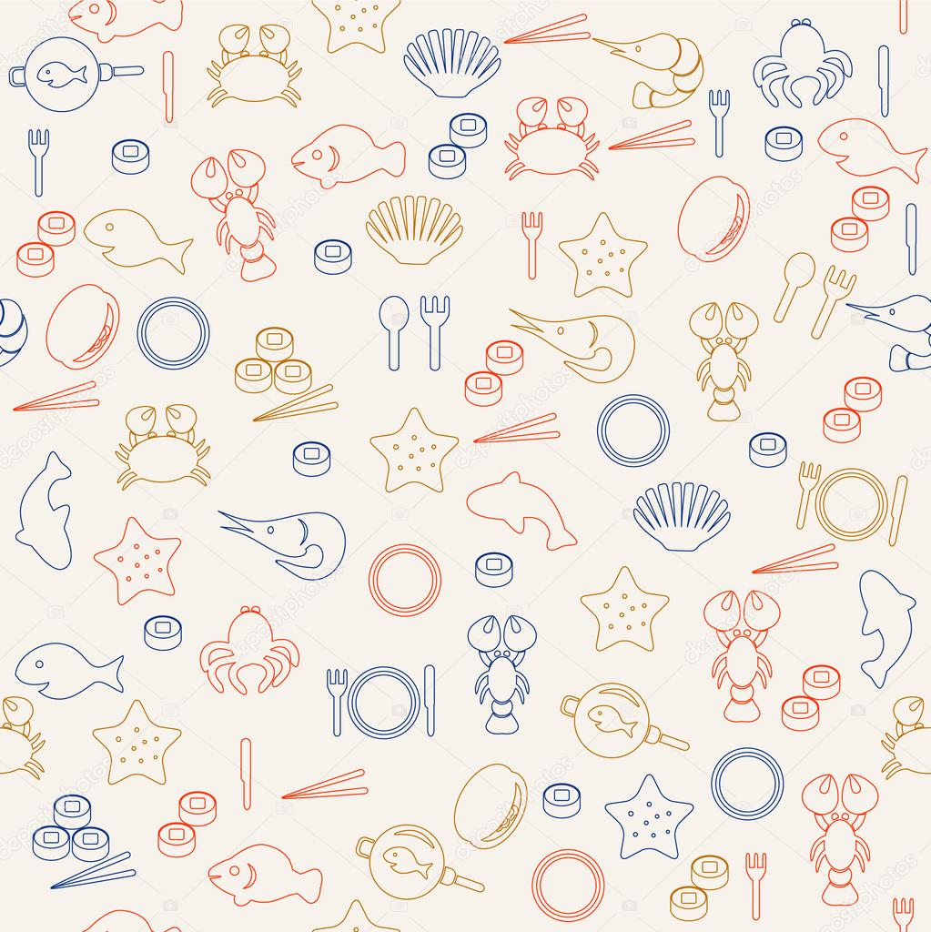 sea food seamless pattern | 图库矢量图片 08 ekaterina rashev