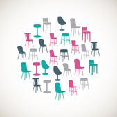 Colorful furniture icons - chairs — 图库矢量图片