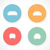 Retro klistermärken med ikoner复古的标贴,印有图标 — Stockvektor