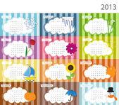 Calendario con fotos para 2013 — Vector de stock