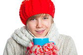 Portrait of young boy in winter style — Stock Photo