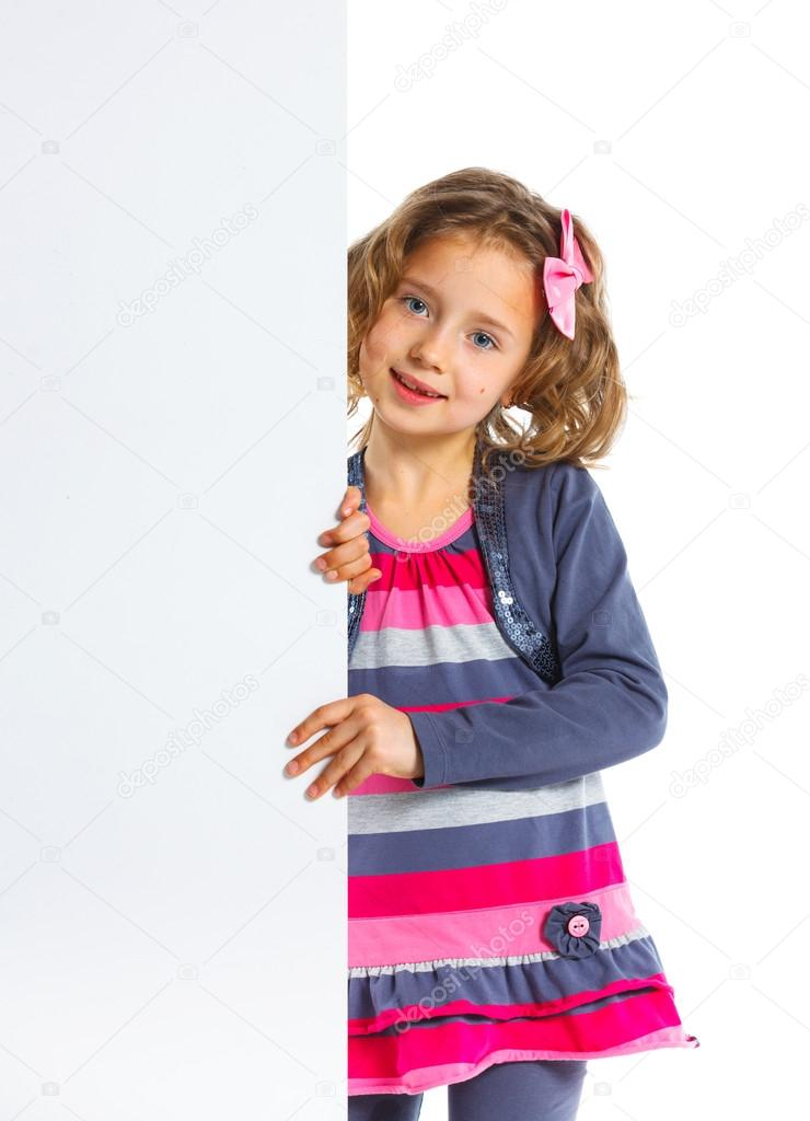 Portrait of A pretty young girl with a blank board — Stock Photo #13447540