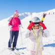 Happy skiers — Foto de Stock