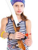 Teenage Girl Doing Archery — Stock Photo