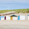 Houses on the beach with blue sky — Stock Photo