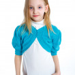 Cute little girl in white and blue clothes — Stock Photo