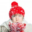 Royalty-Free Stock Photo: Young frozen teenager in winter style with snow