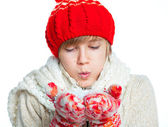 Young frozen teenager in winter style with snow — Stock Photo