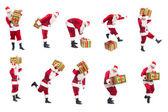 Happy Christmas Santa with gift. — Stock Photo