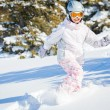 Winter vacation, ski girl - Stock Photo