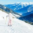 Little girl skiing downhill — Stock Photo