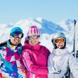 Happy skiers - Stock Photo