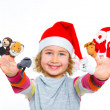 Happy girl playing with finger puppets — Stock Photo