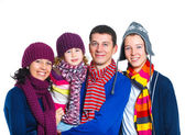 Family in winter hat — Stock Photo