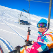 Skier on a ski-lift — Stock Photo