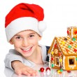 Little boy in Santa's hat with gingerbread house — Stock Photo #16929247