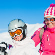 Stock Photo: Happy skiers