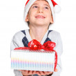 Little boy in Santa's hat with gift box — Stock Photo #17820019