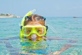 The girl in scuba mask — Stock Photo