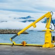 Fishing Crane Iceland Town Harbor. — Stock Photo