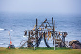 Trestles for hanging up fish to dry — Stock Photo