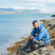 Stock Photo: Man and Ocean view In Iceland
