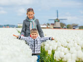 Boy with sister in the tulips field — Stock Photo