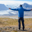 Man Admiring Glacier — Stock Photo