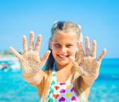 Girl On Sand — Stock Photo